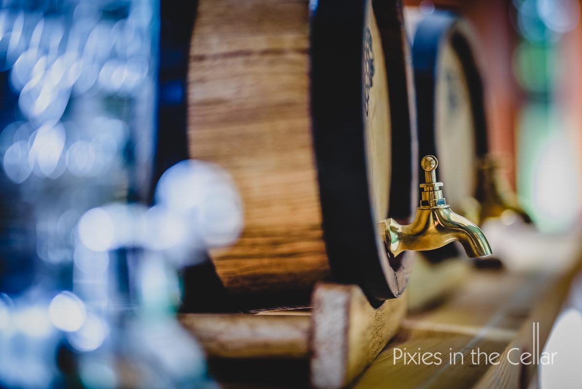 wine barrels at wedding