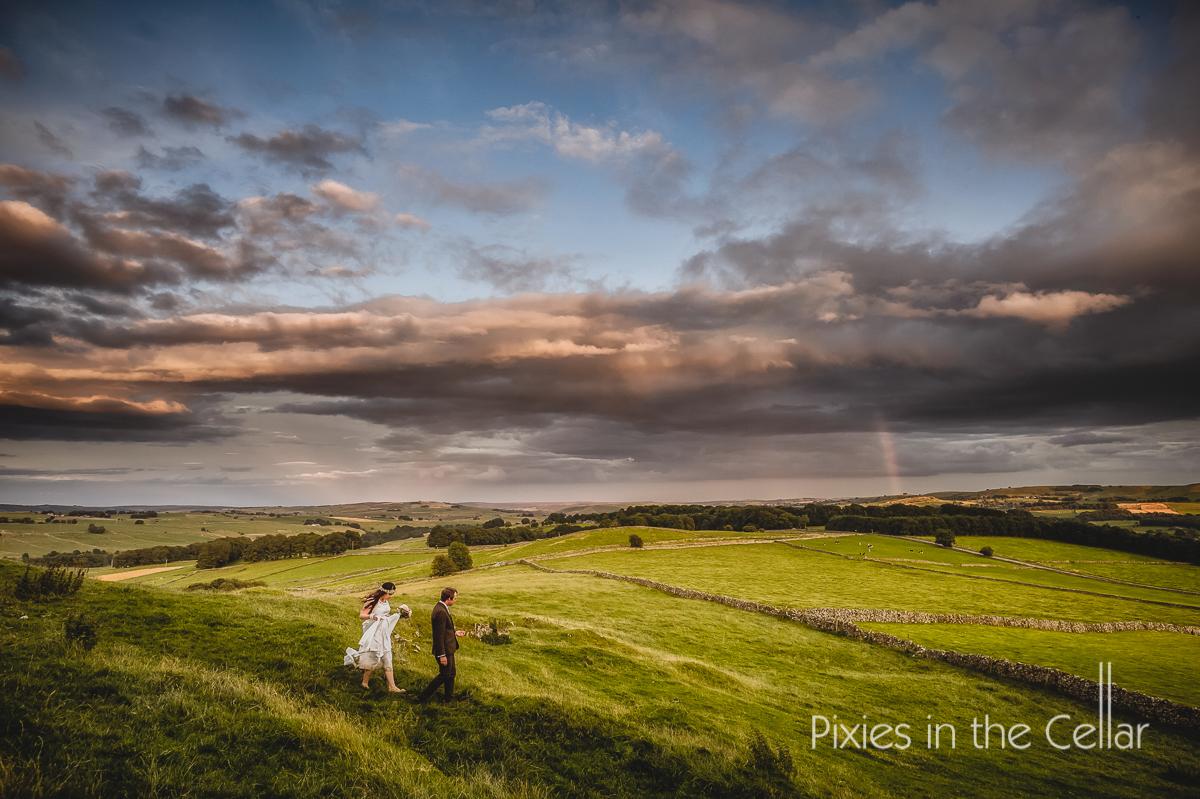 Peak district bride and groom landscape
