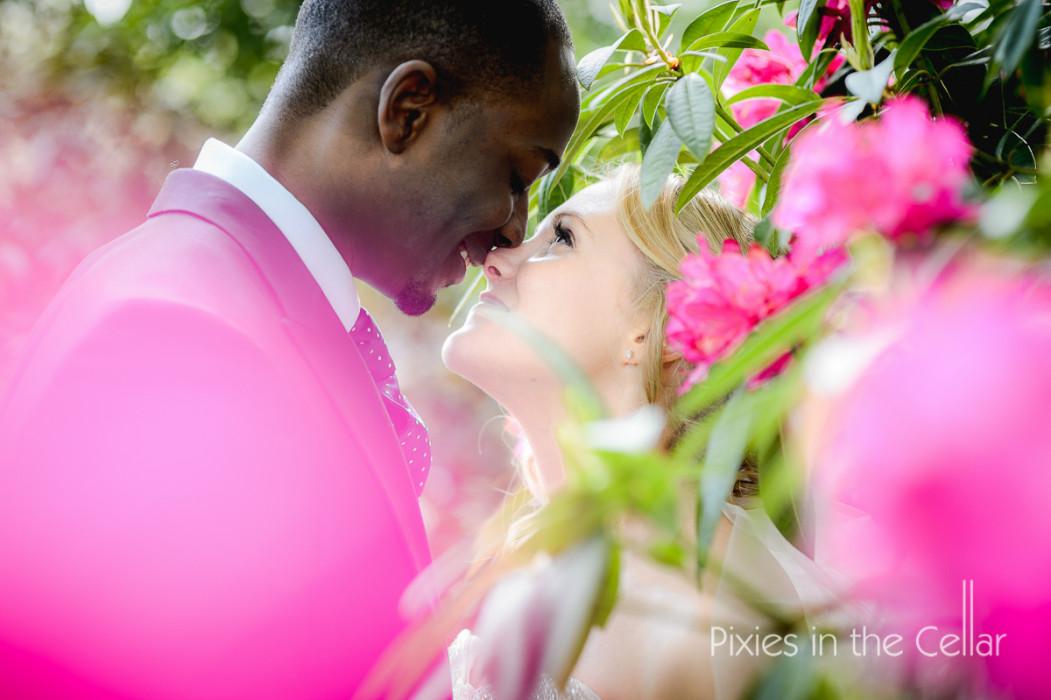 pink rhododendron bride groom wedding