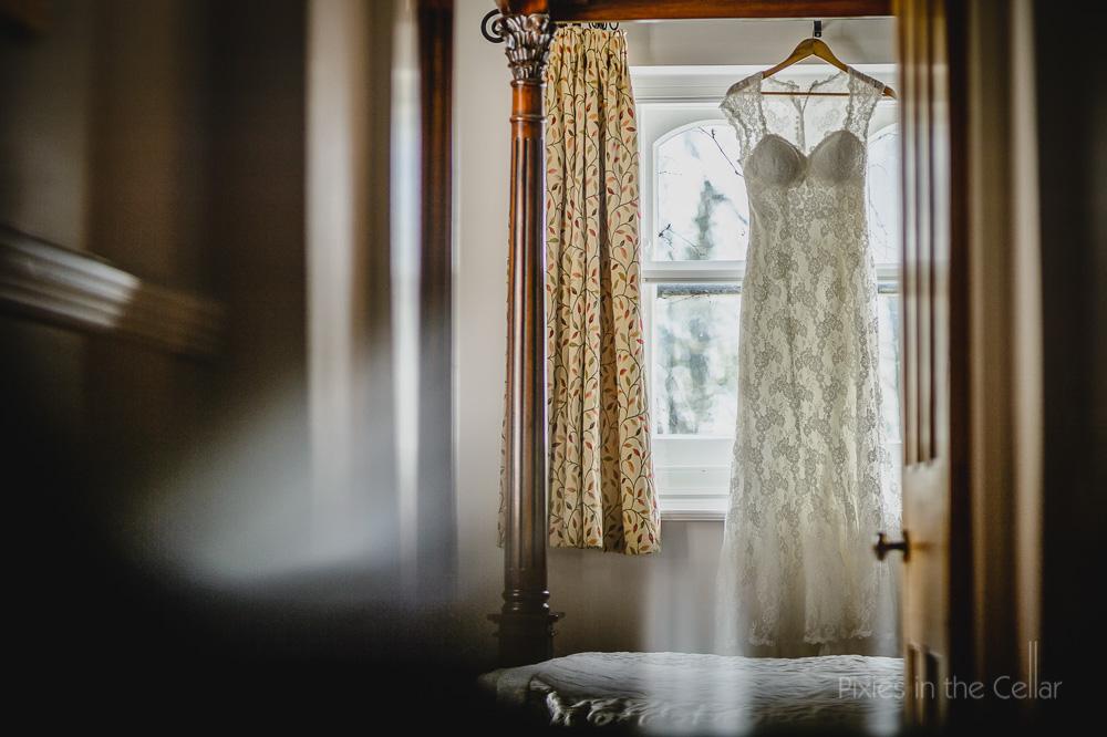 lace wedding dress at Hargate Hall Derbyshire wedding