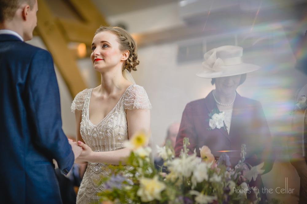 wedding vows in modern barn