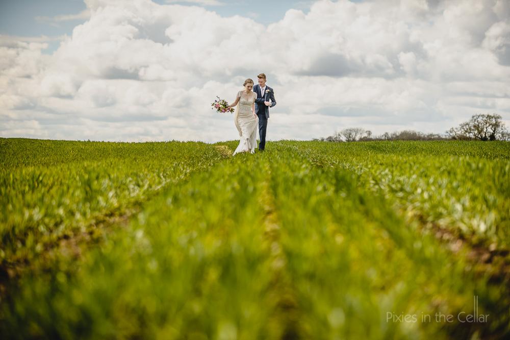 UK wedding image in field