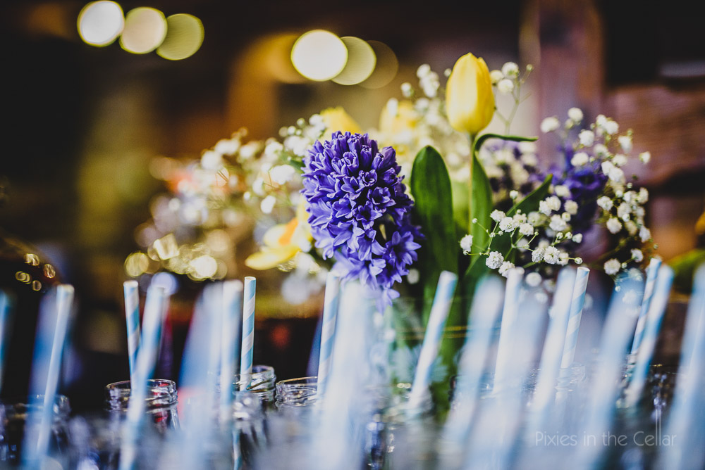 spring wedding with milk bottles and straws