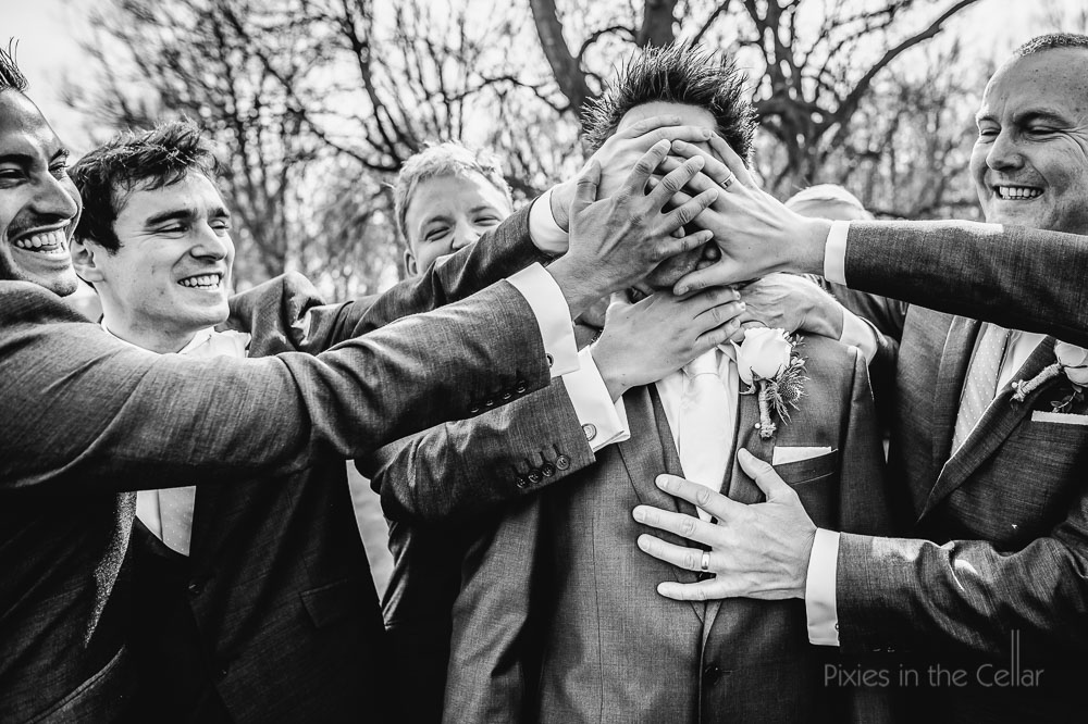 hands on grooms face