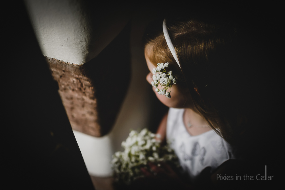 flower girl gypsophila in hair