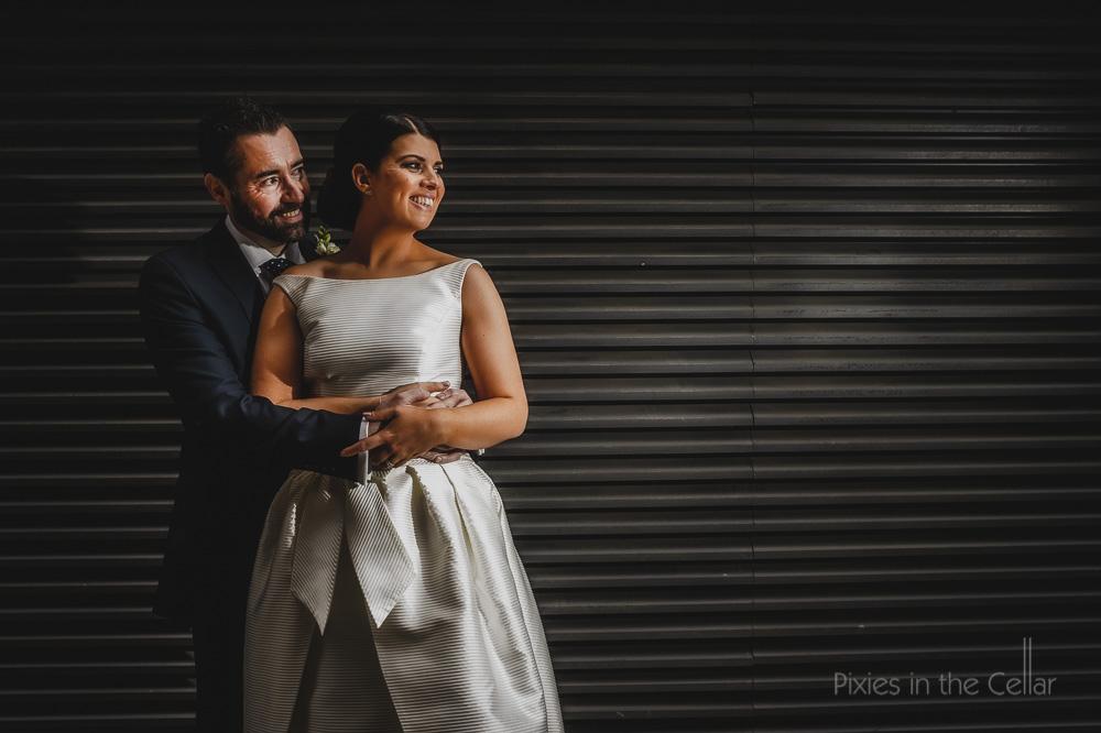 bride groom urban portrait Manchester