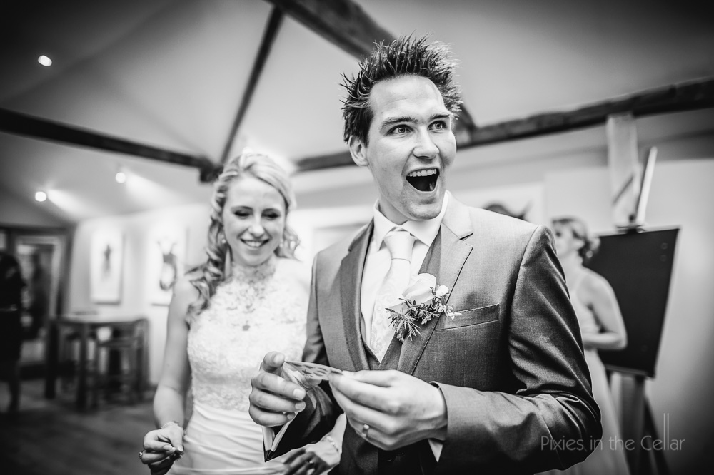 groom card trick amazed face!