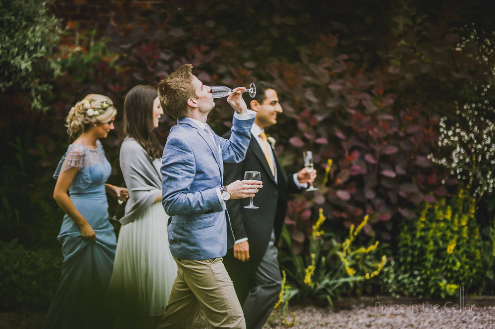 wedding guests and champagne