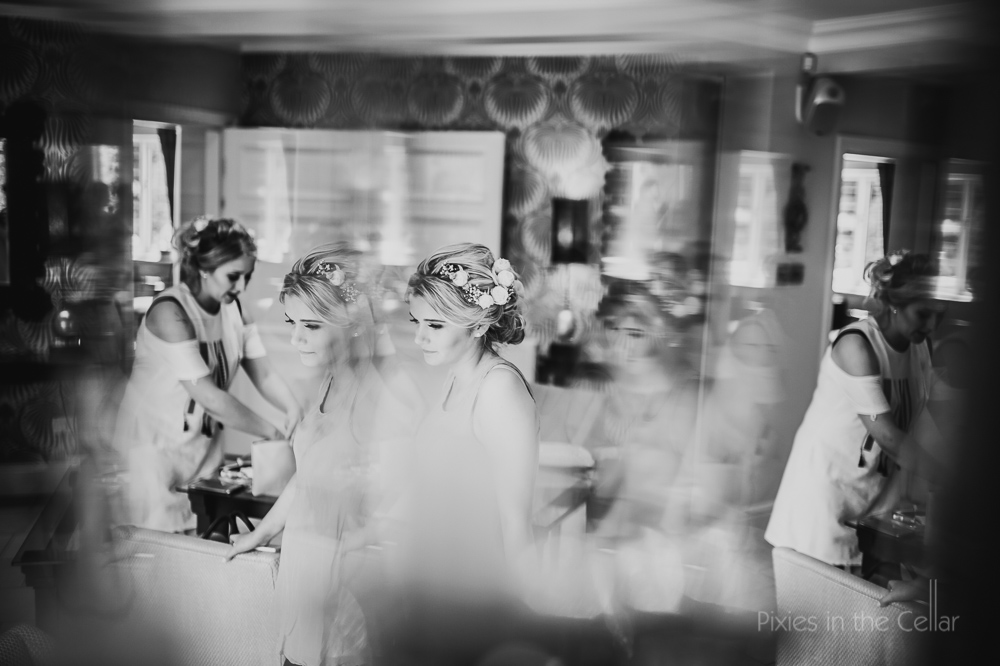 bridesmaids reflections black and white