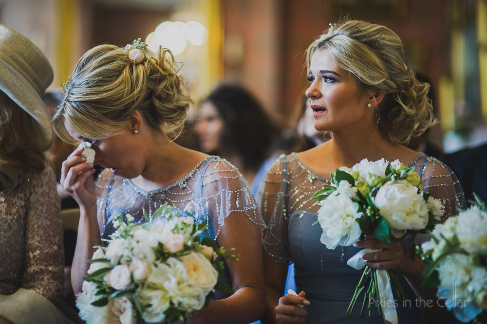 pale blue and beads bridesmaid dresses