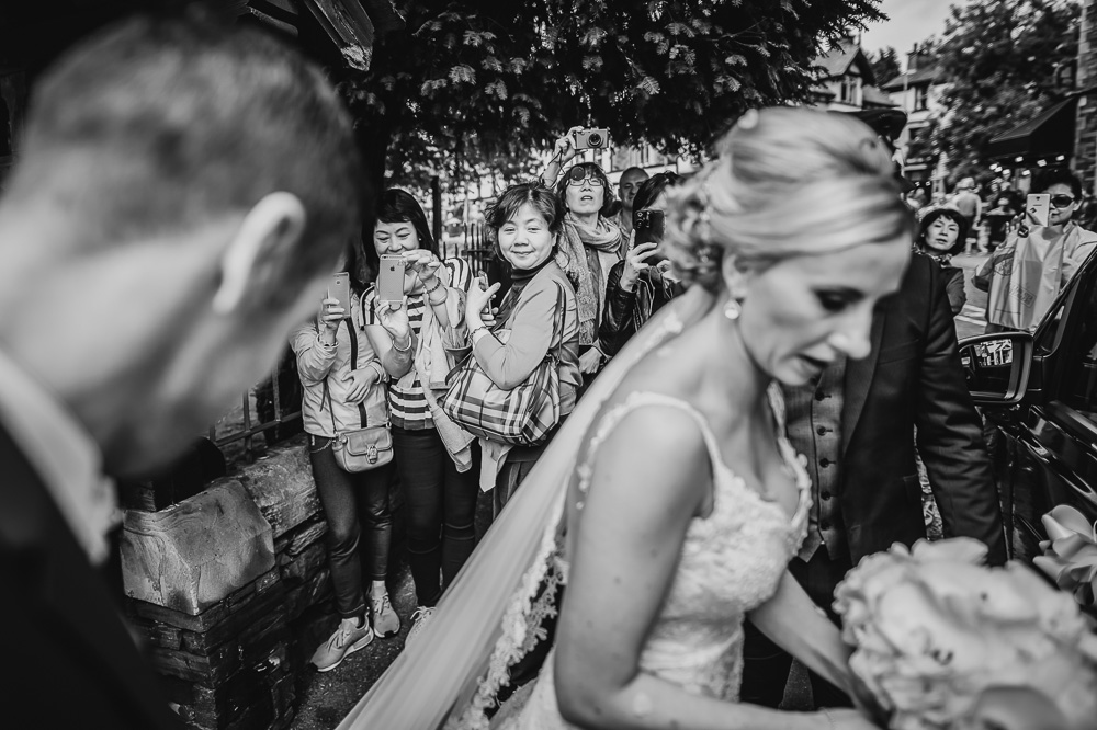 tourists at Lake district wedding