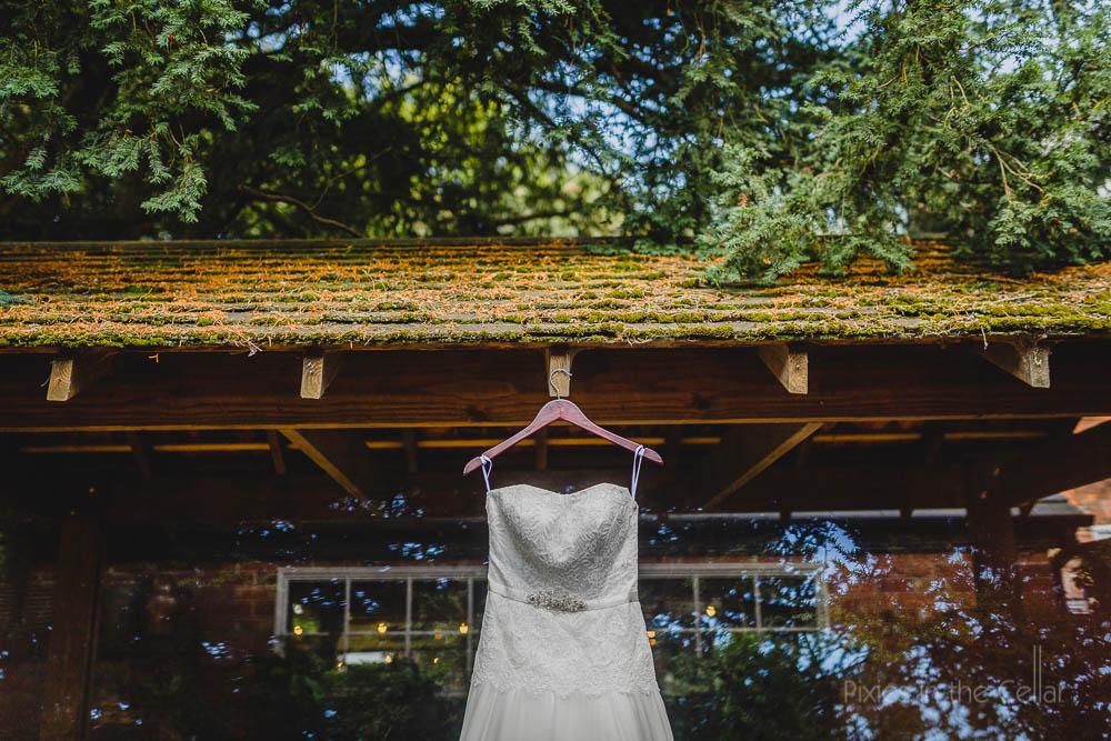 wedding dress in rustic setting