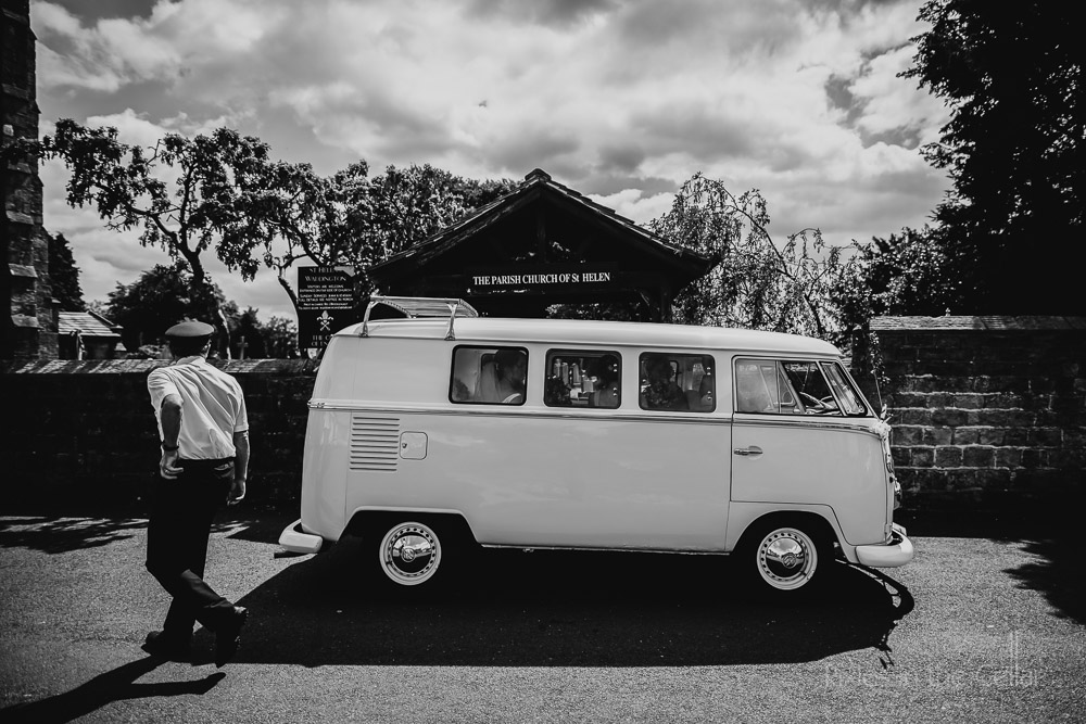 bride arrival in vw camper