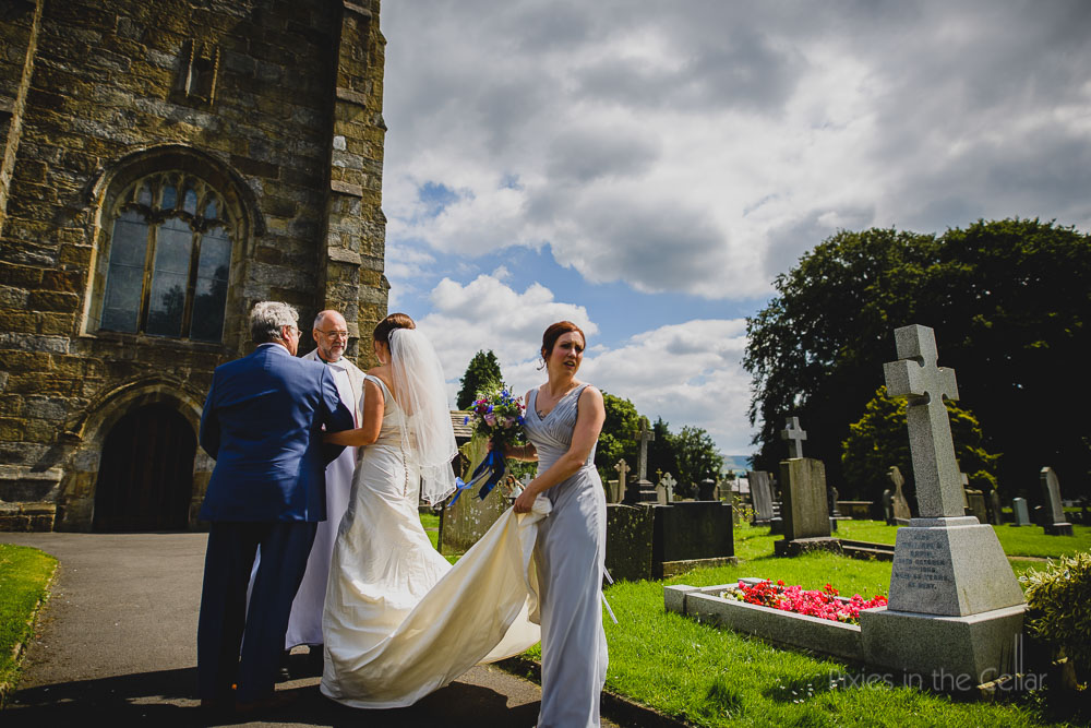 bride outside waddington st helens church