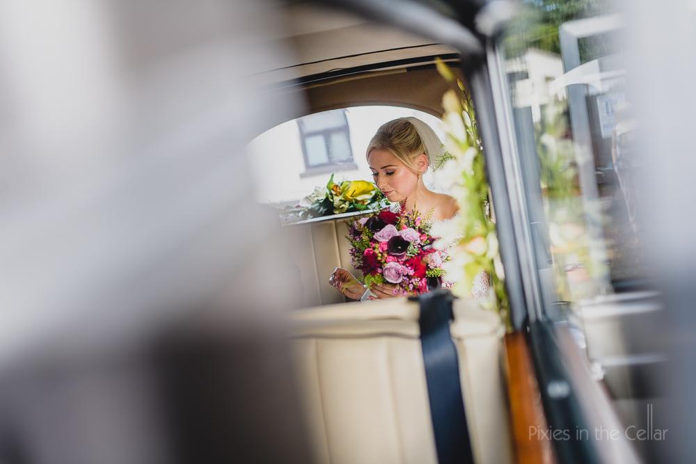 arrival of bride in wedding car