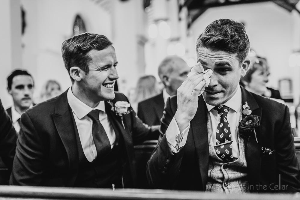 tearful emotional groom