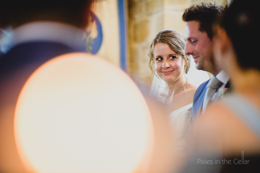 bride smiling at new husband