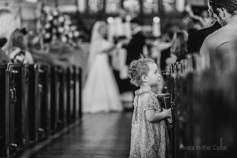 child at wedding in church