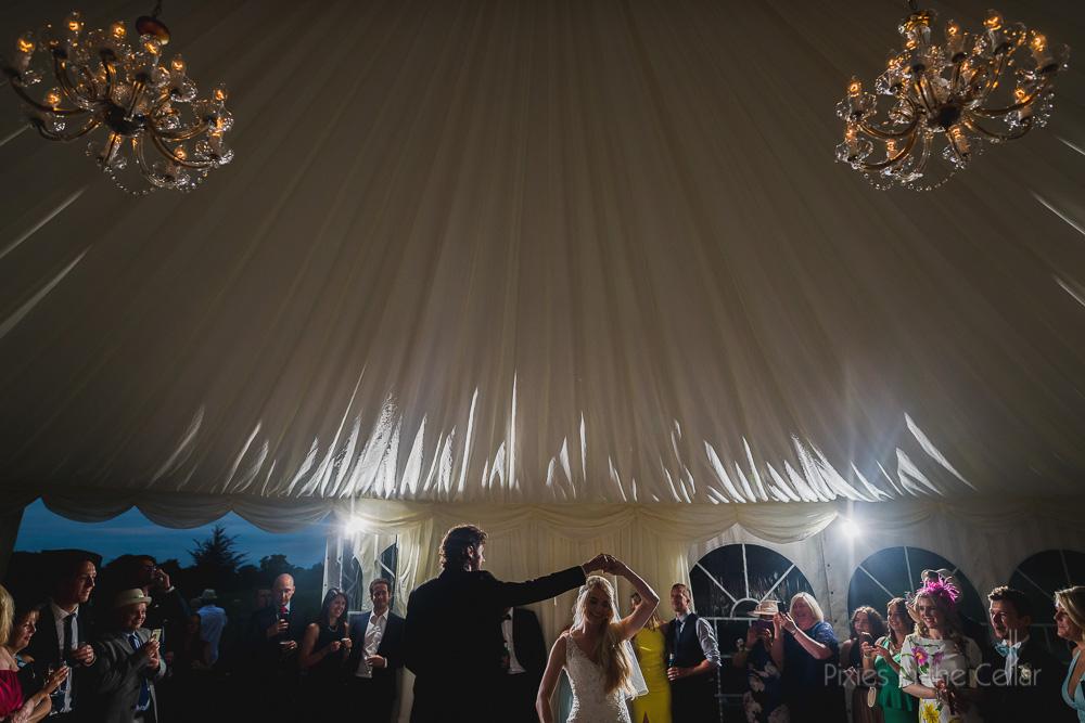 wedding first dance at forrest hills marquee