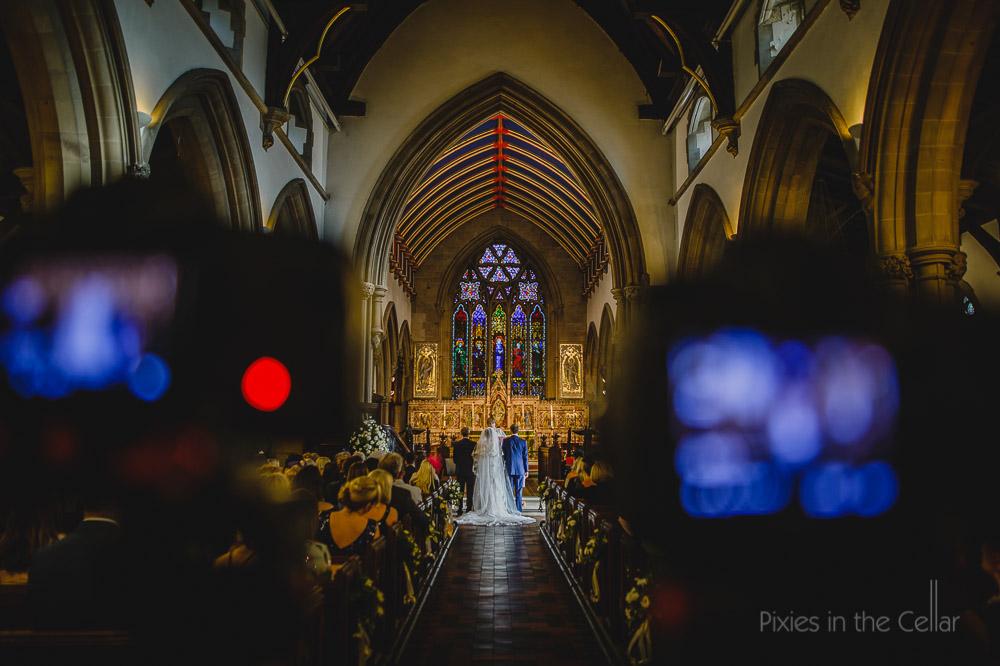 English church wedding two photographers