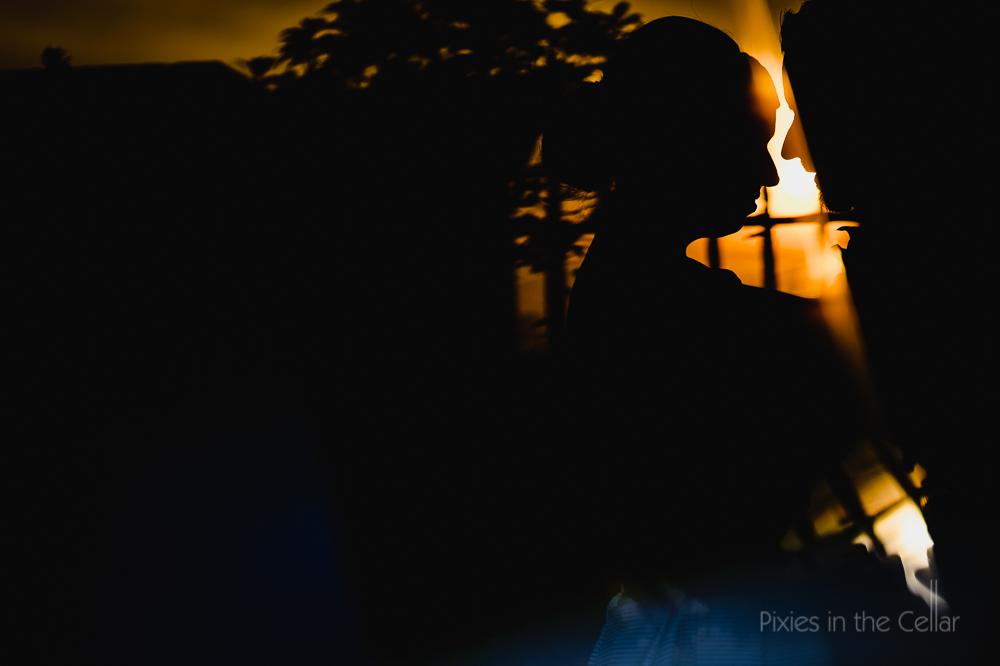 sunset wedding silhouette