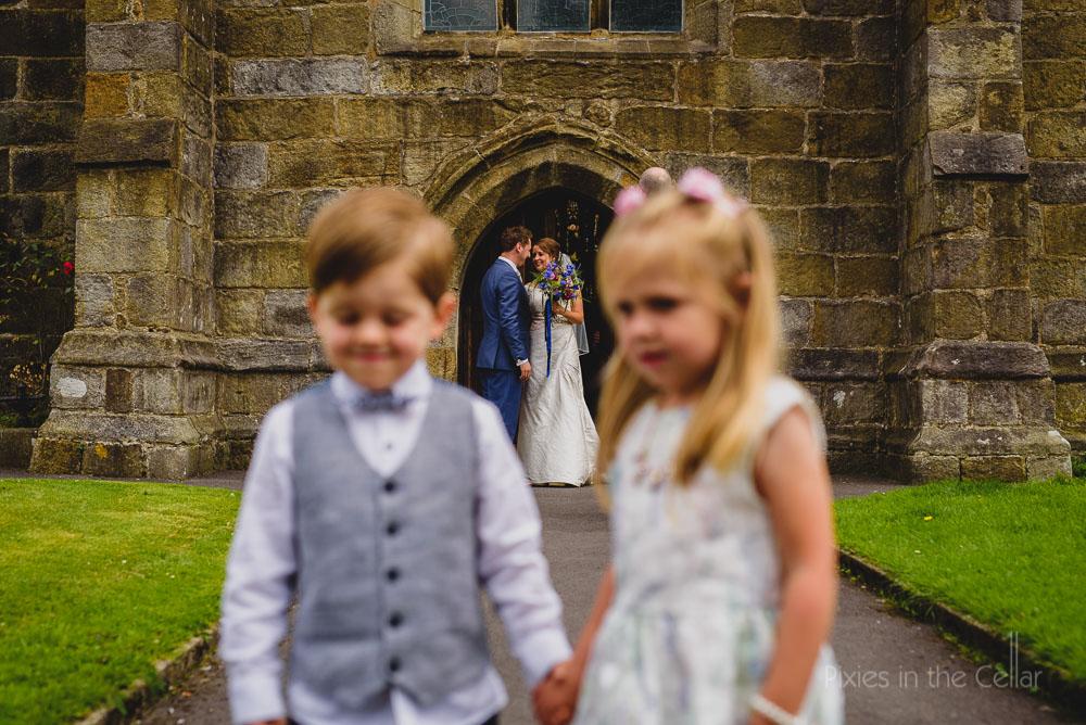 church wedding with page boy flowergirl