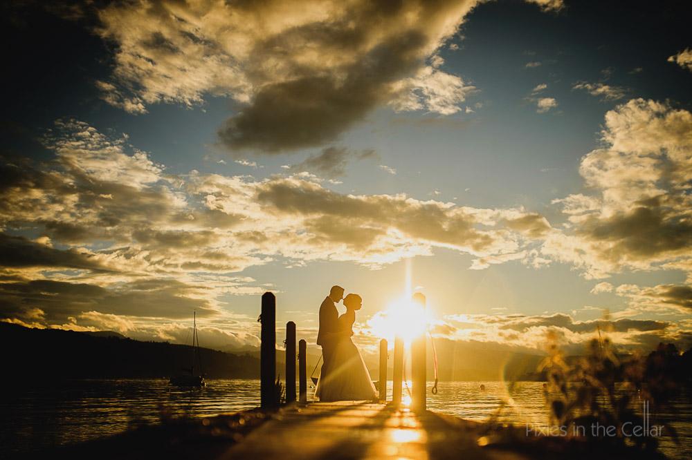 lake district wedding sunset on jetty