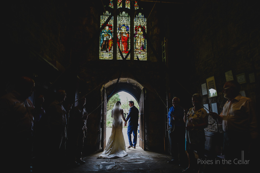 English church wedding with bell ringers