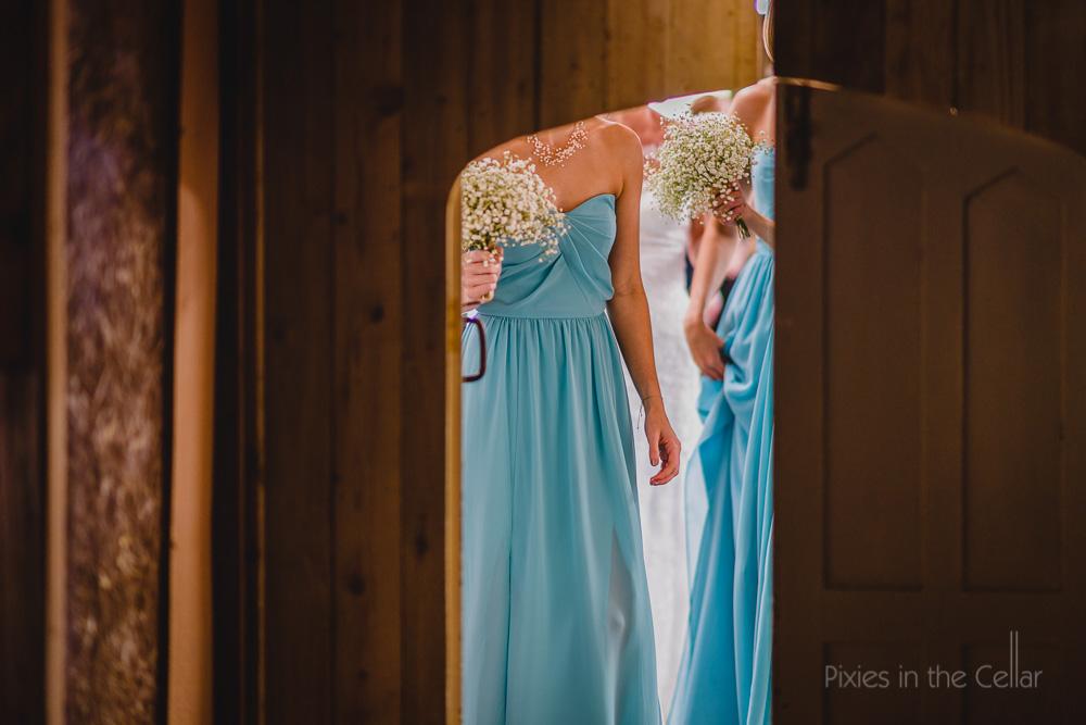 sky blue bridesmaids and gypsophila