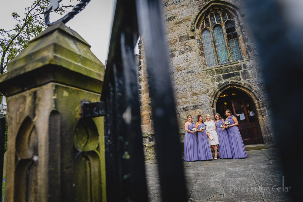 bridesmaids english church wedding