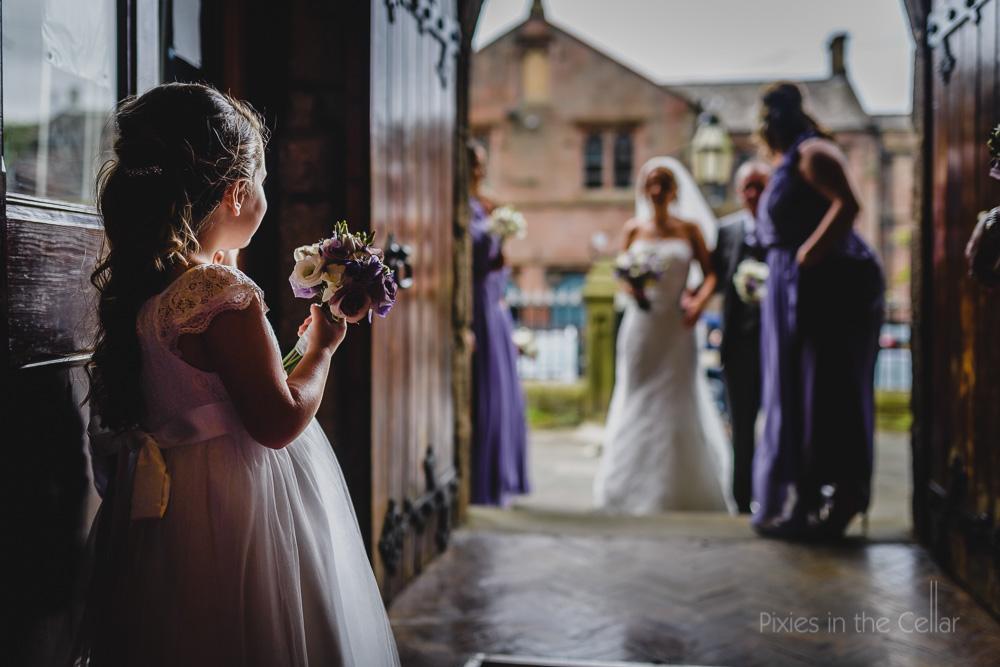 flower girl waiting for bride
