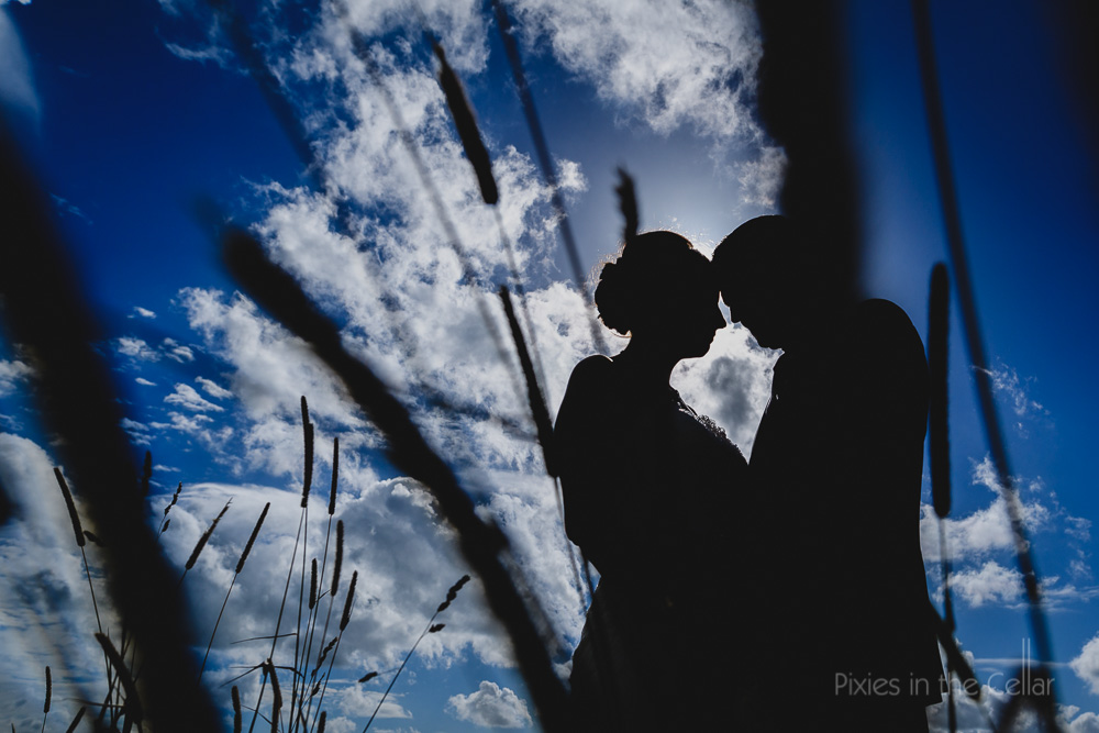 wedding silhouette with grass summer England