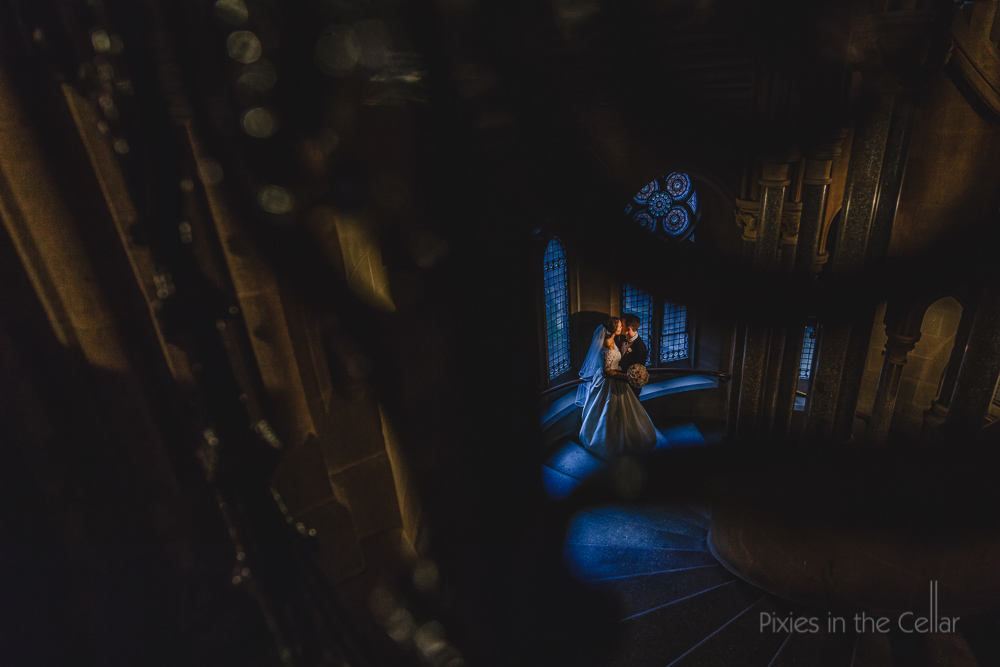 Manchester town hall wedding photography gothic moody light
