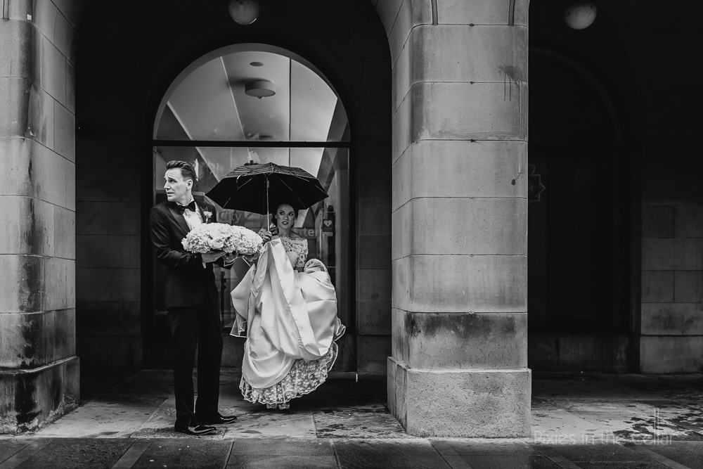 rainy wedding moments Manchester
