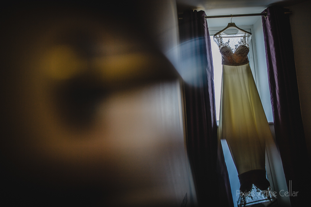 wedding dress in apartment window