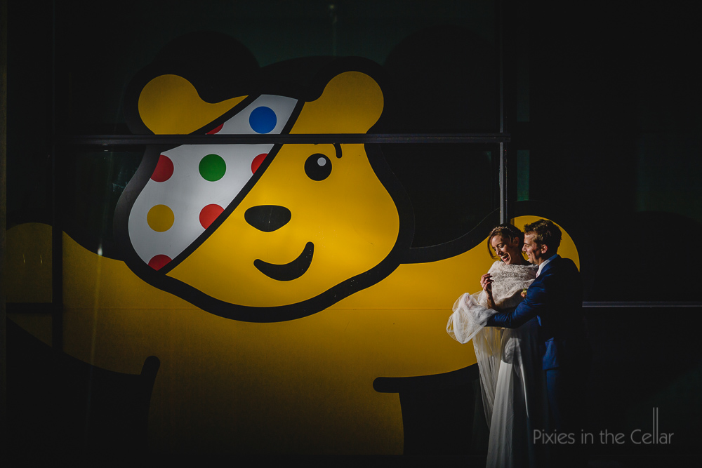 Media city wedding photo pudsey bear