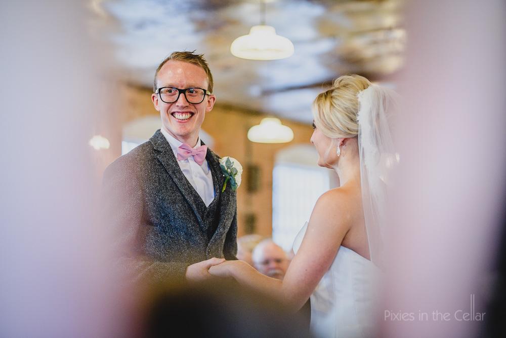 winter wedding tweed and bow tie