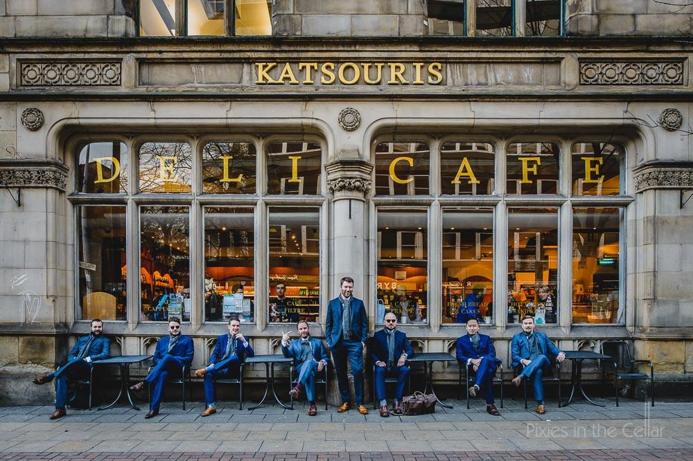 city wedding groomsmen Katsouris Deli cafe
