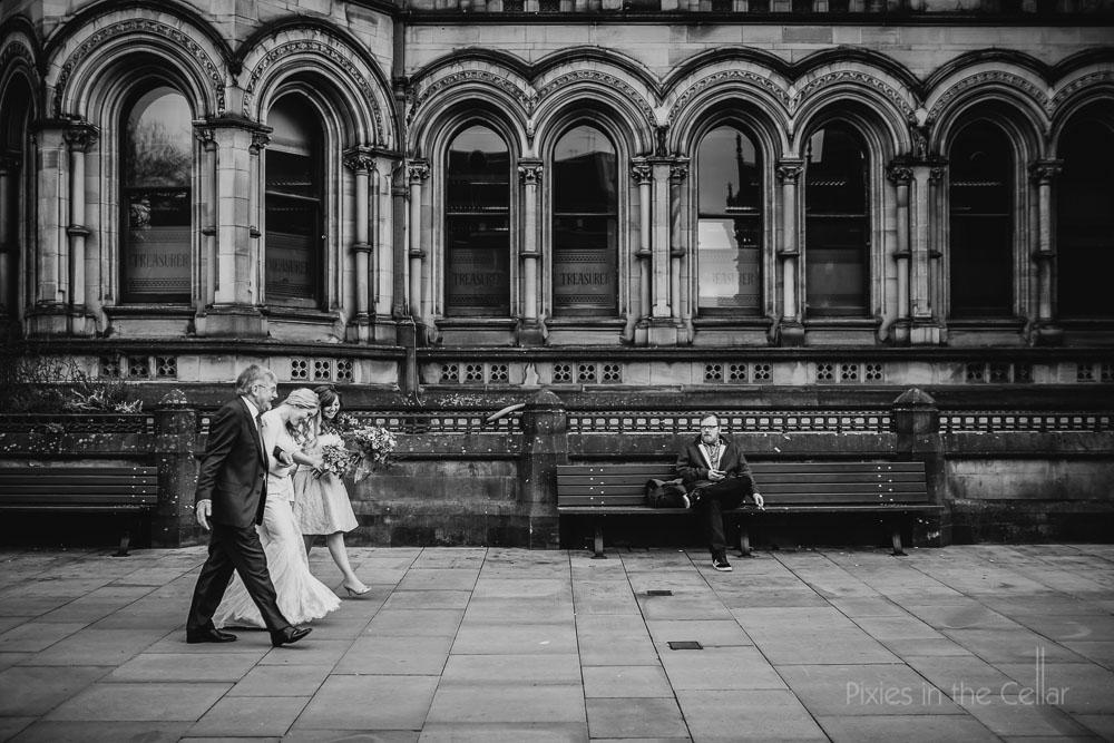 Manchester town hall bride walks to wedding