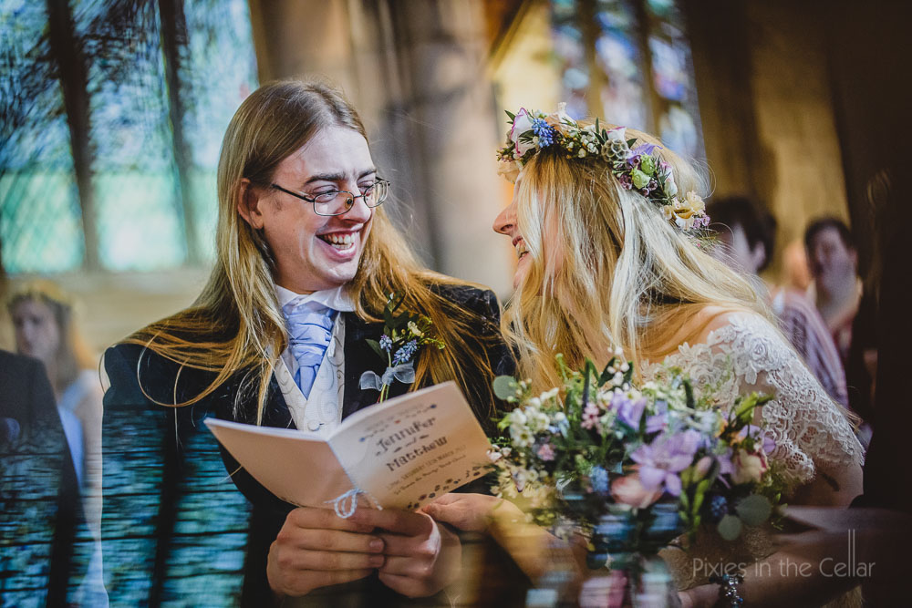 happy long hair bride and groom