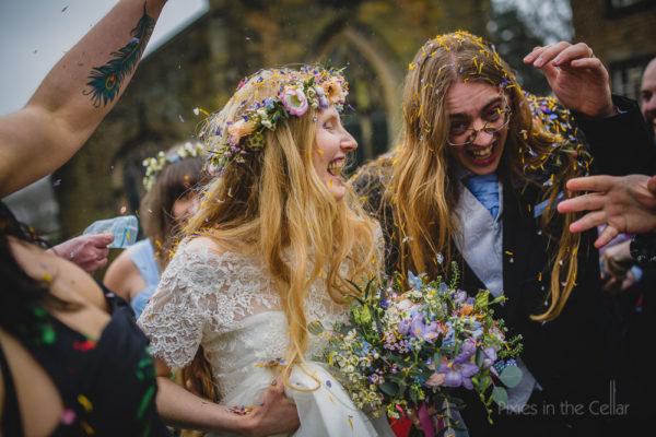 Rivington Hall Barn wedding photography confetti