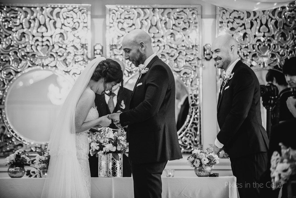 Eaves Hall Autumn Wedding Photography ceremony laughs