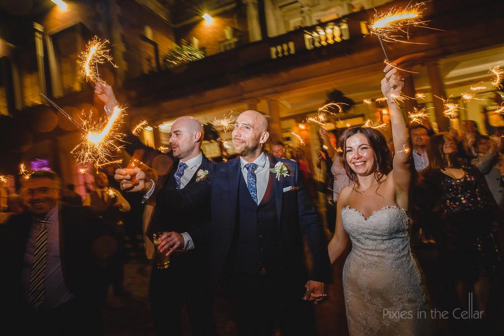 wedding sparklers UK wedding Autumn