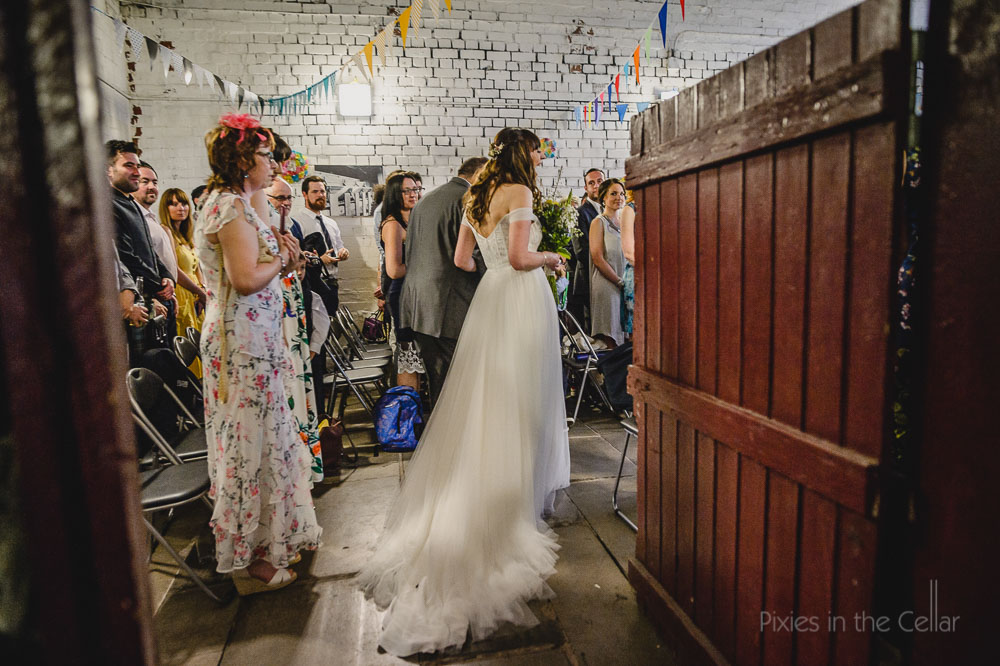 warehouse wedding ceremony bride arrival photo