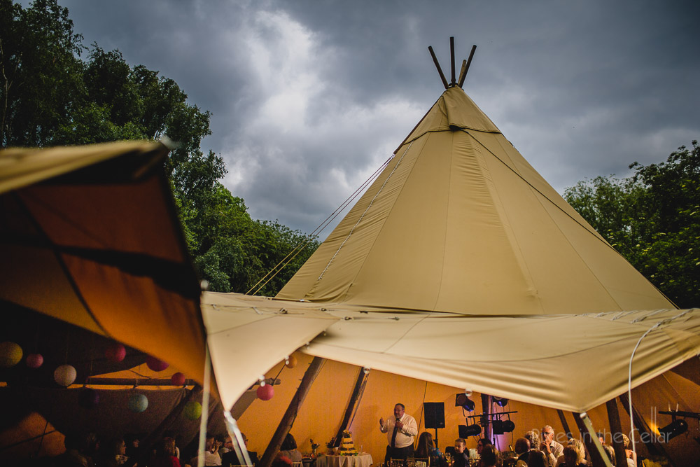 tipi wedding photography speeches cloudy skies