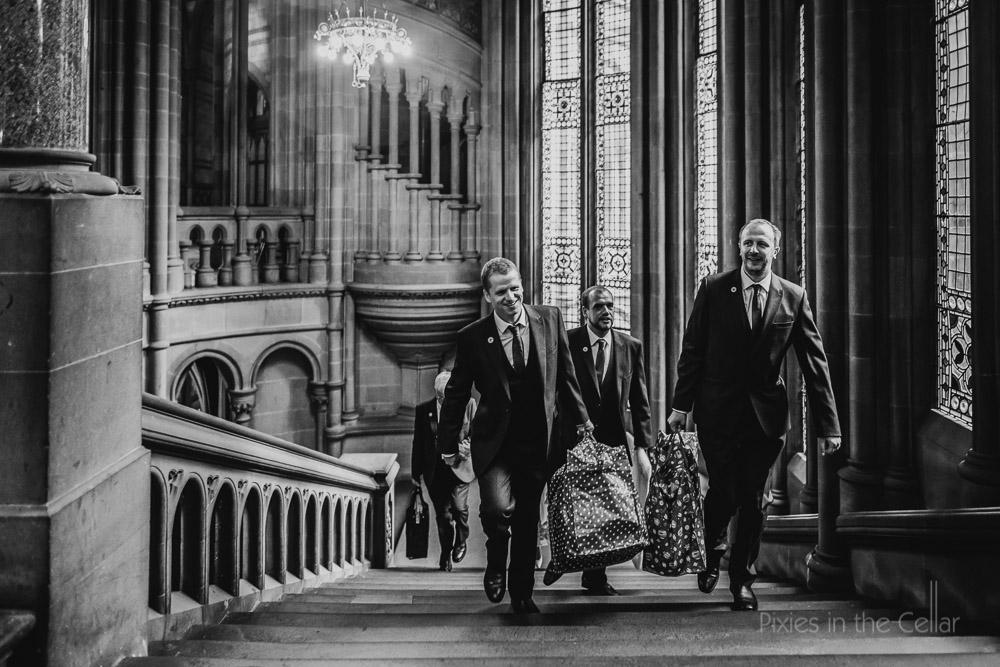 groomsmen big bags and stairs