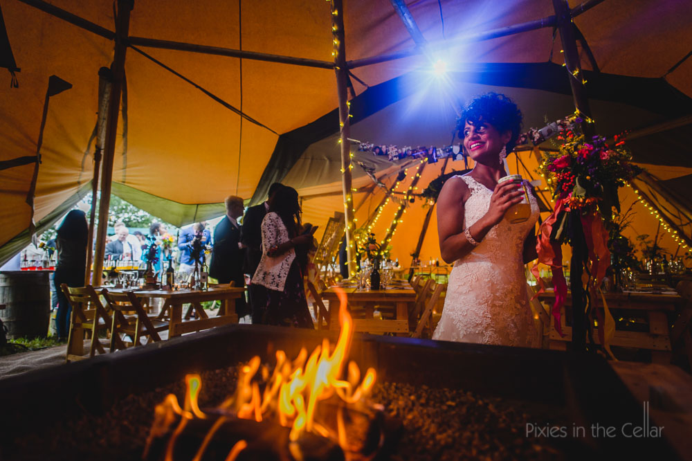 Tipi wedding fire bride jam jar cocktails
