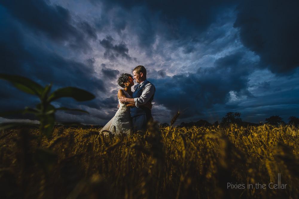 Dramatic wedding photography UK outdoor wedding