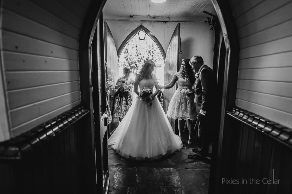 Church wedding bride in doorway