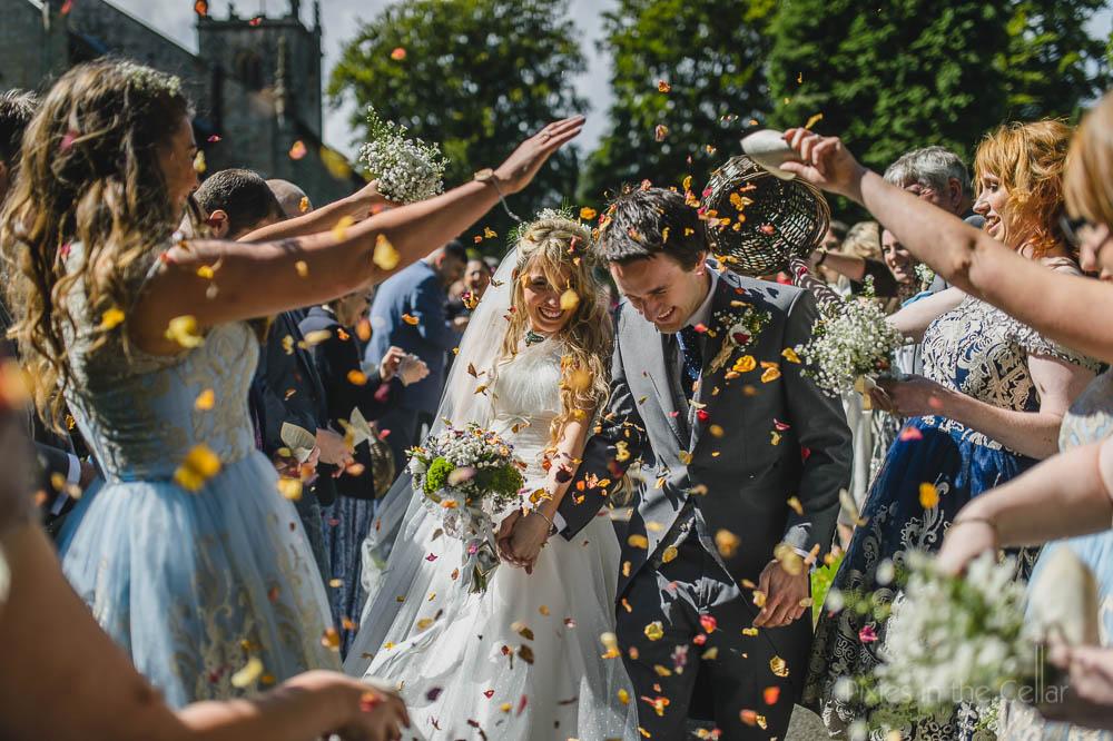 Confetti run Peak district wedding photography